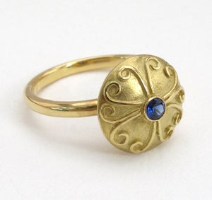 Image of Sapphire Antique Disc Ring 18k