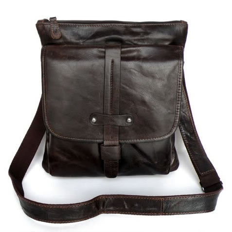 Image of Vintage Handmade Antique Genuine Leather Messenger Bag Satchel / iPad Bag in Dark Brown (n85)