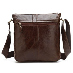 Image of Vintage Handmade Antique Leather Messenger Bag / Satchel / iPad Bag in Dark Brown (n87)