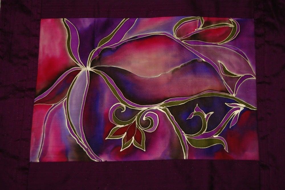 Image of Wisdom Meditation Cushion - Handpainted Silk
