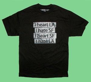 "Image of ""Heart LA Hate SF"" tee in Black"