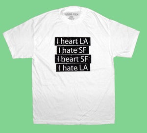 "Image of ""Heart LA Hate SF"" Tee in White"