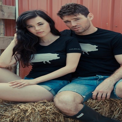 "Image of girls john bartlett +farm sanctuary ""ambassador collection"" pig tee"