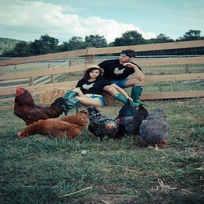 "Image of girls john bartlett + farm sanctuary ""ambassador collection"" chicken tee"
