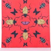 Image of Beet Red Kaleidoscope with Beetles                     21 x 21