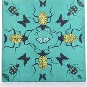 Image of Turquoise Kaleidoscope with Beetles 21 x 21