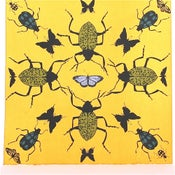 Image of Yellow Kaleidoscope with Beetles 21 x 21