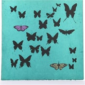 Image of Turquoise with Butterflies 21 x 21
