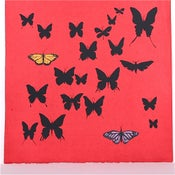 Image of Red with Butterflies 21 x 21