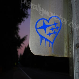 Image of Drippy Subaru Heart Logo Sticker