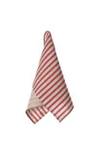 Image of Mulberry Red & Oatmeal Stripe Linen Tea Towels by Birdkage- set of 2