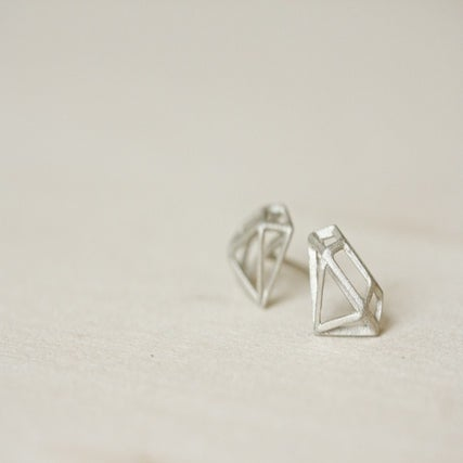 Image of Sterling Silver DIAMOND STRUCTURE Earring stud