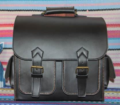 Image of Vintage Handmade Artisan Genuine Leather Satchel Briefcase Messenger Bag / Case in Black (m8)