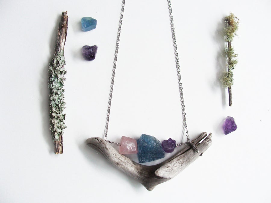 Image of Driftwood & Mineral Necklace ll | NZ dlls