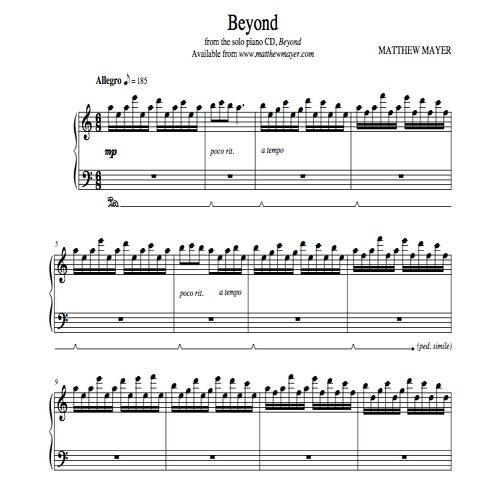 Free Piano Sheet Music New Age: Beyond Sheet Music / Matthew Mayer * Solo Piano