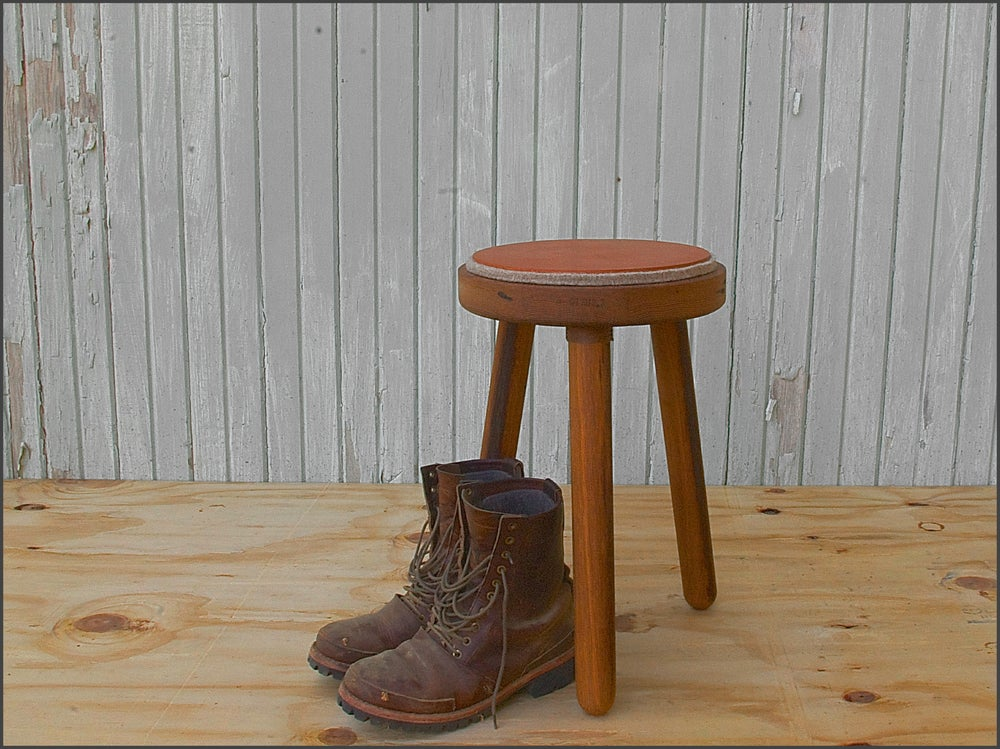 Image of felt + leather milking stool // custom built to order