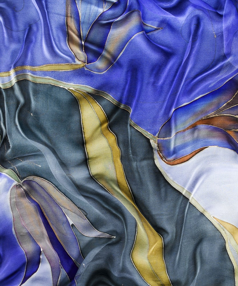 Image of Golden Tulips Silk Shawl - Handpainted Silk