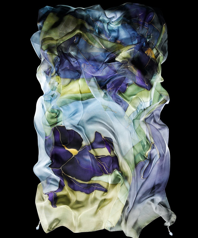 Image of Purple Iris Silk Shawl - Handpainted Silk