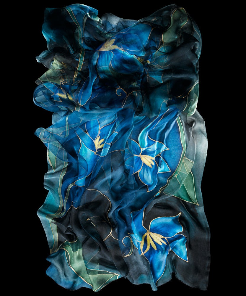 Image of Midnight Lily Silk Shawl - Handpainted Silk