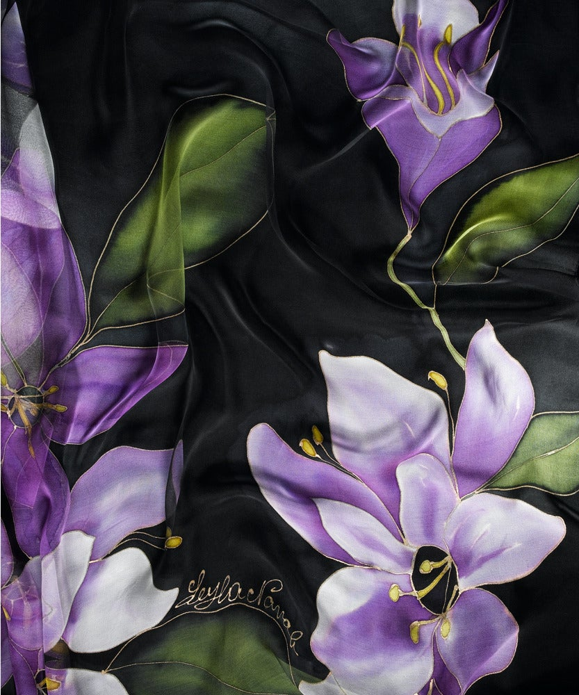 Image of Dream of Violet Silk Shawl - Handpainted Silk