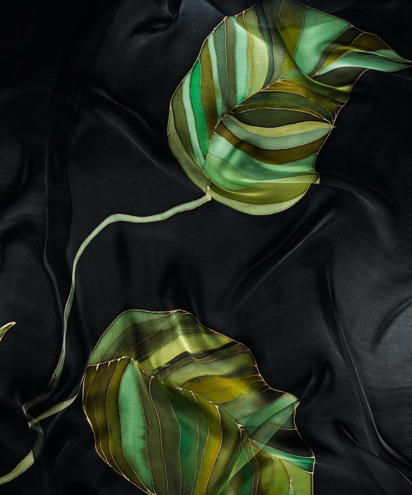 Image of Green Leaves Silk Shawl - Handpainted Silk