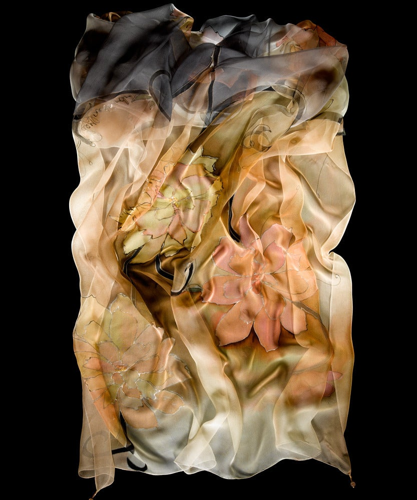 Image of Morning Peonies Silk Shawl - Handpainted Silk