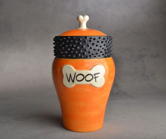 "Image of Dog Treat Jar Orange Spiky Collared ""Woof"""