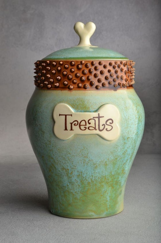 "Image of Dog Treat Jar Patina Brown Spiky Collared ""Baxter"""
