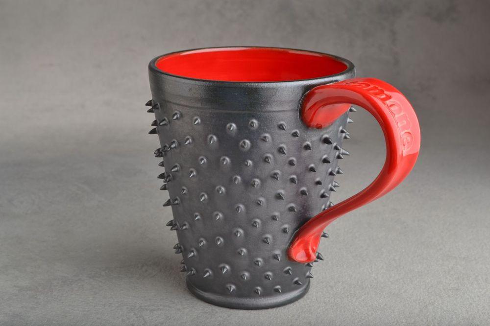 Image of Spiky Mug Gun Metal Black and Red Made To Order