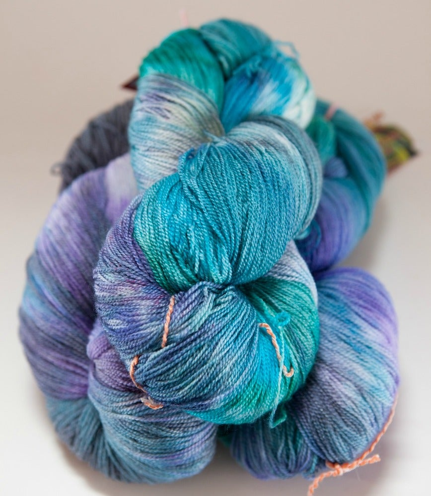 """Image of ARACHNE Lace, """"Lex, Dream, and Galadriel"""" 2 skeins available Merino + Silk, 1300 yards"""