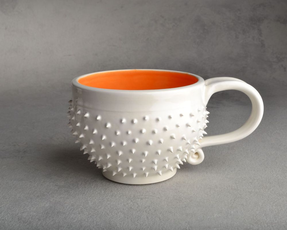 Image of White and Orange Spiky Cocoa/Soup Mug Made To Order