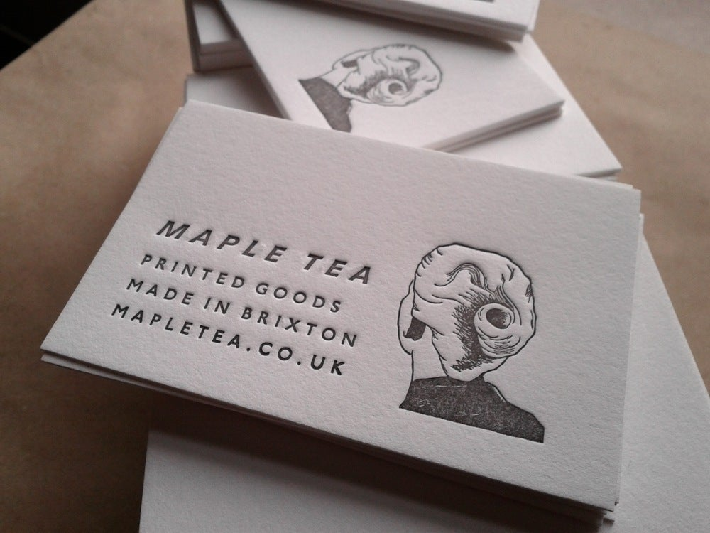 Image of Letterpress Business Cards including unique illustration or logo