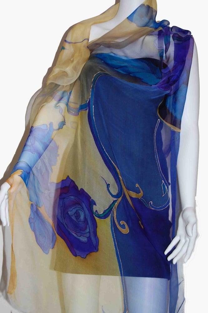 Image of Midnight Rose Silk Shawl - Handpainted Silk Shawl Made in USA