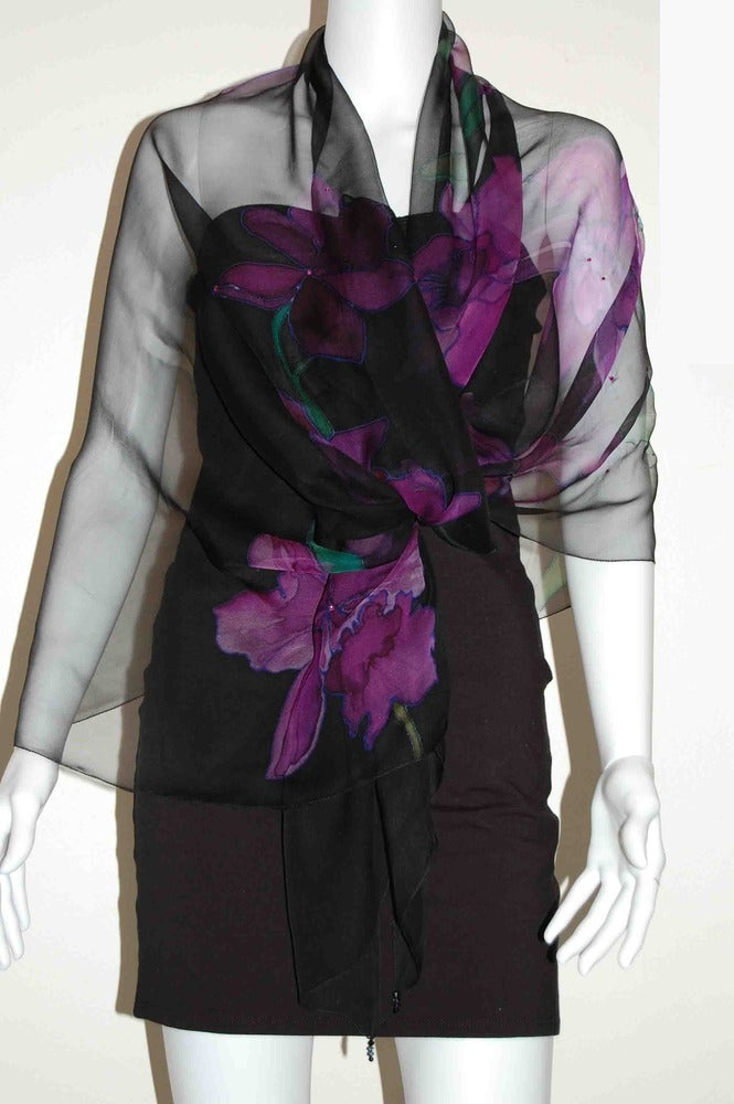 Image of Purple Orchid Silk Shawl - Handpainted Silk Shawl Made in USA