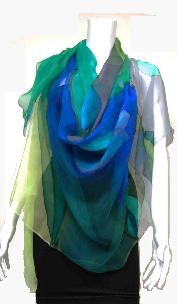 Image of Green & Grays Silk Shawl - Handpainted Silk Shawl Made in USA