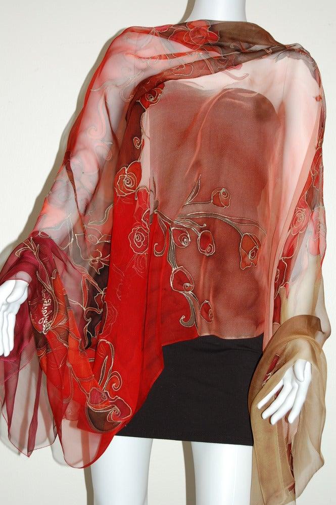 Image of Sunrise Roses Silk Shawl - Handpainted Silk Shawl Made in USA