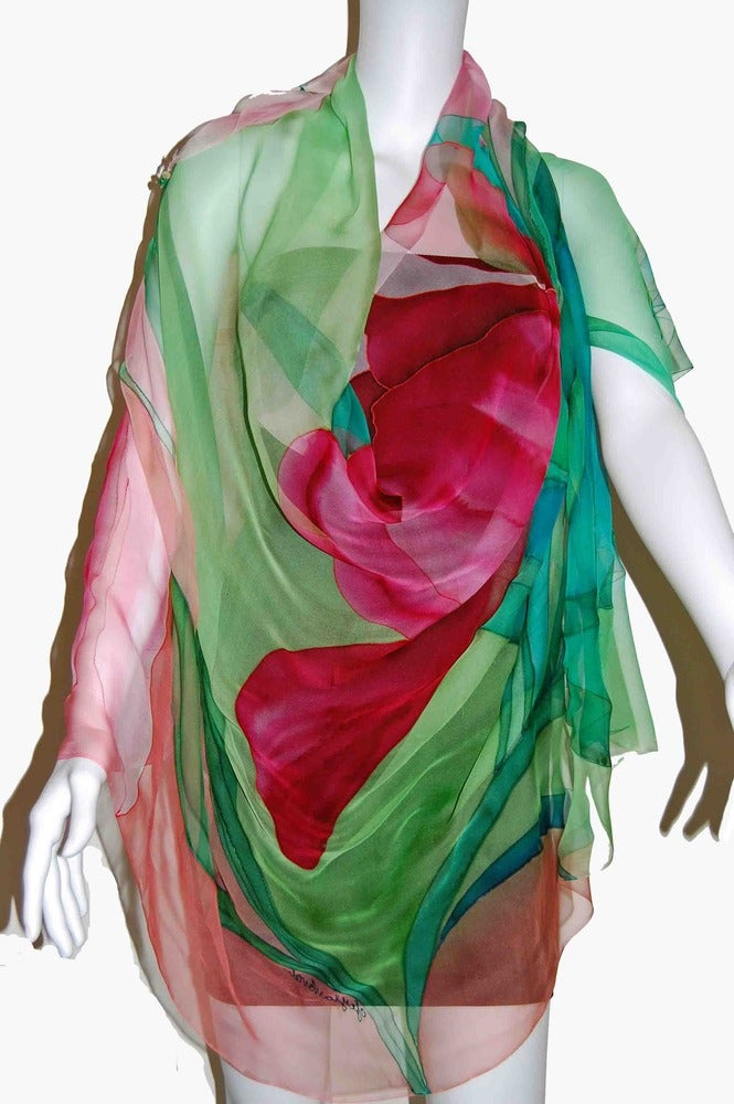 Image of Scented Tulip Silk Shawl - Handpainted Silk Shawl Made in USA