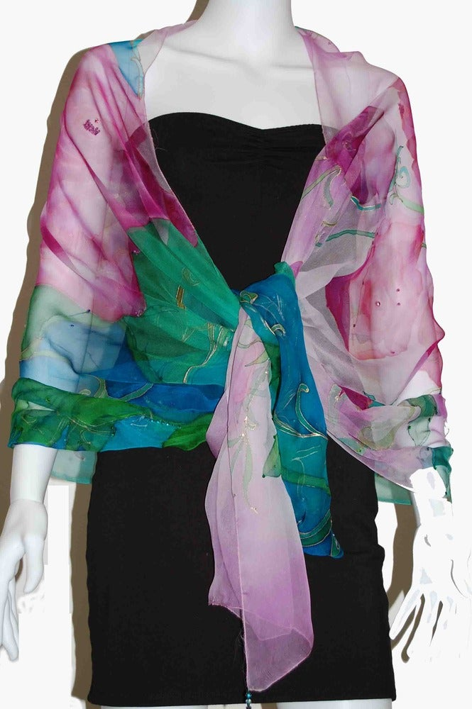 Image of Pink Tulip on Turquoise Silk Shawl - Handpainted Silk Shawl Made in USA