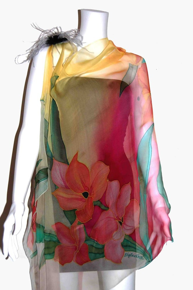 Image of Sunset in Hawaii Silk Shawl - Handpainted Silk Shawl Made in USA