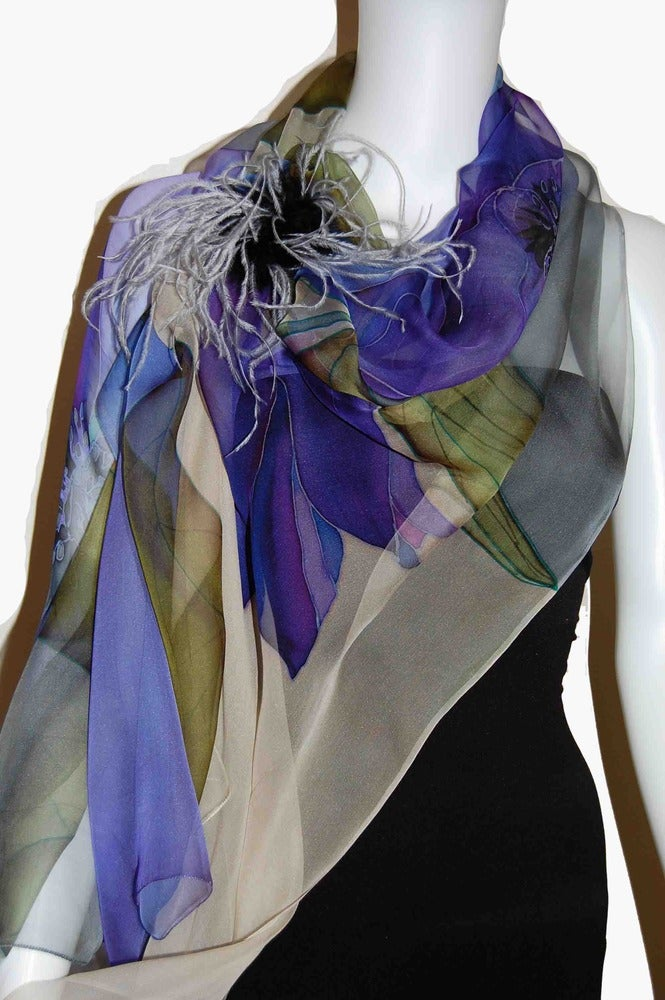 Image of Tulip in Blue Silk Shawl - Handpainted Silk Shawl Made in USA