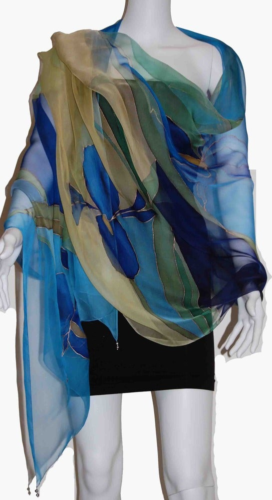 Image of Midnight Iris Silk Shawl - Handpainted Silk Shawl Made in USA