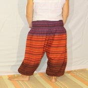 Image of Red and Purple Striped Cotton Harem Pants