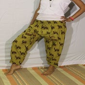 Image of Celery Green Camel Print Cotton Harem Pants