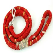 Image of Red Dog Leash made from Recycled Sari