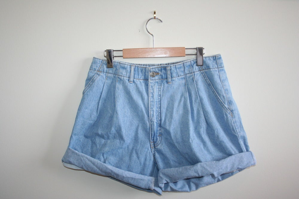 Image of Light Blue High-Waisted Denim Shorts
