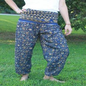 Image of Navy Blue Floral Silk Harem Pants