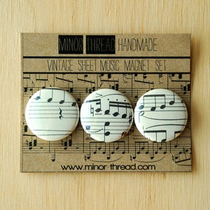 Image of Recycled Sheet Music Magnets 6 Sets - Wholesale Package