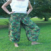 Image of Green Paisley Satin Harem Pants