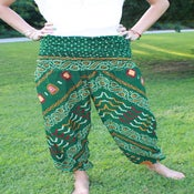 Image of Green Indian Print Silk Harem Pants