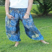 Image of Shades of Blue Peacock Pattern Satin Harem Pants